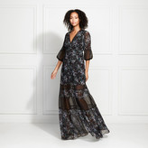Rachel Zoe Joni Vine Printed Sheer Panel Maxi Dress