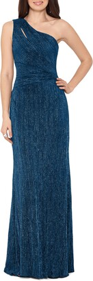 Xscape Evenings One Shoulder Glitter Knit Gown