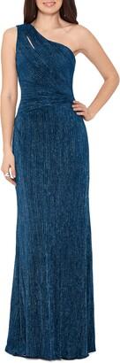 Xscape Evenings One Shoulder Glitter Knit Gown