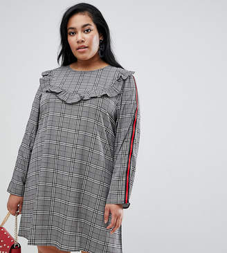 Brave Soul Plus tonic bib front dress in check with tape detail-Black
