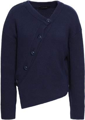 Cédric Charlier Asymmetric Wool And Cashmere-blend Cardigan