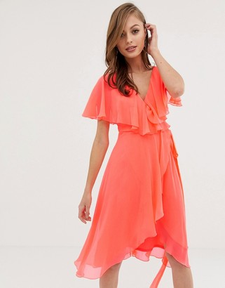 Asos Design DESIGN cape back dipped hem midi dress-Pink
