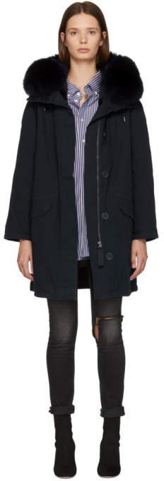 Yves Salomon Army Navy and Black Multi Fur Classic Long Parka