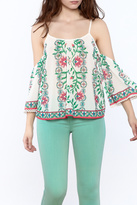 Flying Tomato Print Cold Shoulder Top