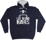 123t Slogans 123t Life Behind Bars Gymnast Gymnastic Hoody Fitness Gym Top Workout Exercise Sport Athletic Parallel Bars Birthday Gift Christmas Present 2 TONE HOODIE