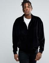 Asos Sweatshirt with Half Zip and Collar in Velour