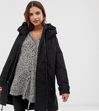 Mama Licious Mama.Licious Mamalicious 2-in-1 padded coat with zip out panel-Black