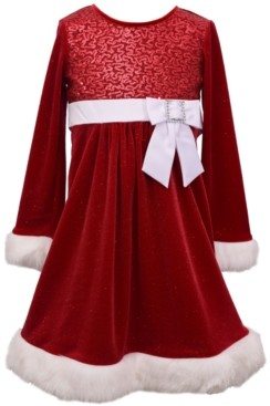 Bonnie Jean Little Girls Sparkle Stretch Velvet Dress with Sequin Bodice and Faux Fur Trim, Solid Satin Waistband and Bow