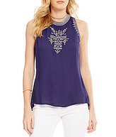 Jessica Simpson Patxi Embroidered Crepe Top