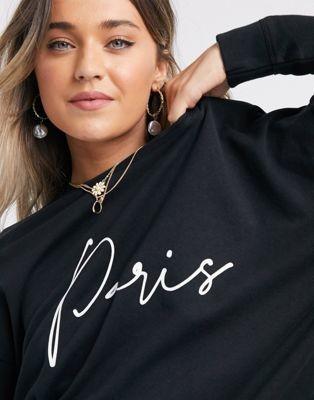 New Look paris scribble slogan sweatshirt in black