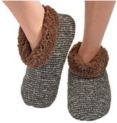 Snoozies Womens Textured Tweed Bootie Slipper Socks