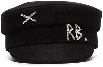 Ruslan Baginskiy Crystal-Embellished Wool Baker Boy Hat