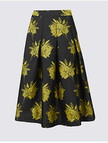 M&S Collection Floral Jacquard A-Line Midi Skirt