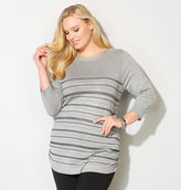 Avenue Textured Stitch Stripe Pullover