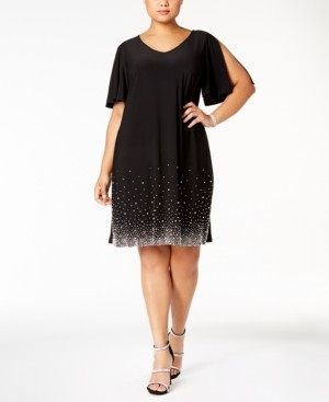MSK Plus Size Beaded Shift Dress