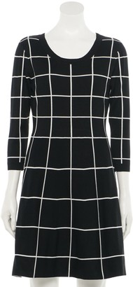 Juniors' Rewind Plaid Sweater Skater Dress