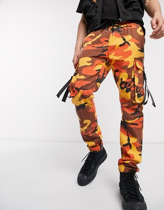 Sixth June camo cargo joggers in yellow