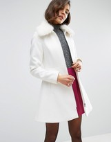 Asos Skater Coat with Faux Fur Collar