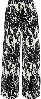GOEN.J Floral-print Plisse-satin Wide-leg Pants