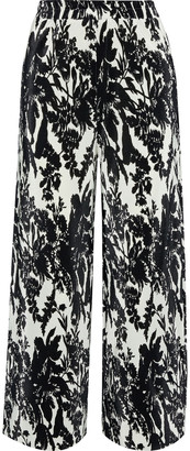 GOEN.J Printed Plisse-satin Straight-leg Pants