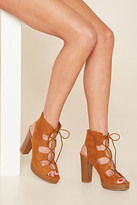 Forever 21 FOREVER 21+ Faux Suede Lace-Up Platforms