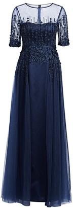 Teri Jon By Rickie Freeman Three-Quarter Sleeve Tulle Gown