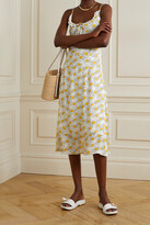 Thumbnail for your product : HVN Annika Floral-print Crepe Midi Dress - White