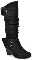 Journee Collection Women's Buckle Slouch Wedge Knee-High Boots
