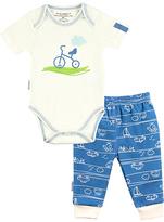 Kushies Blue Bicycle Organic Cotton Bodysuit & Ravel Pants - Infant
