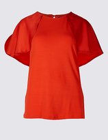 M&S Collection Round Neck Petal Sleeve T-Shirt