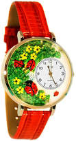 Whimsical Watches Personalized Ladybug Womens Gold-Tone Bezel Red Leather Strap Watch