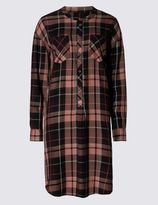 Marks and Spencer Checked Long Sleeve Shirt Dress