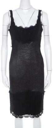 Diane von Furstenberg Silver and Black Lace Paneled Olivette Sheath Dress M