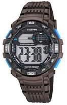 Calypso Men's Digital Watch with LCD Dial Digital Display and Brown Plastic Strap K5702/4