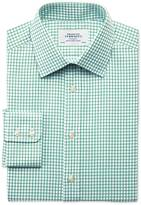 Extra Slim Fit Twill Grid Check Green Shirt