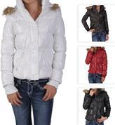 Journee Collection Ci Sono by Journee Junior's Faux Fur Trim Bubble Jacket