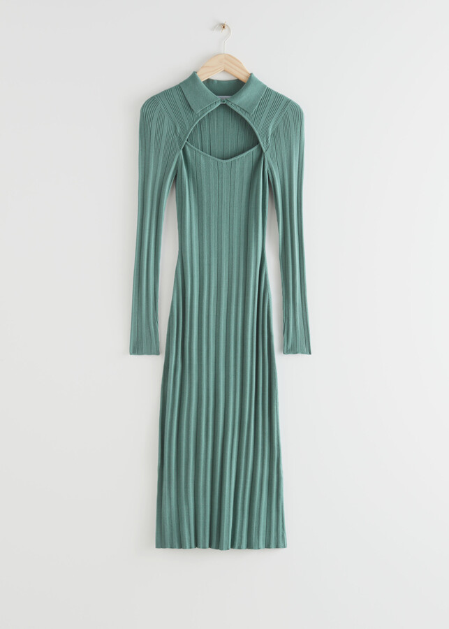 And other stories Fitted Cut Out Midi Rib Dress