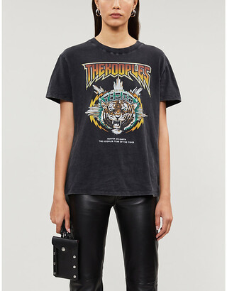 The Kooples Tiger-print vintage-effect cotton T-shirt