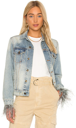 Pam & Gela Feather Cuffed Denim Jacket. - size M (also