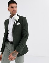 Asos Design DESIGN wedding super skinny wool mix blazer with puppy tooth in khaki