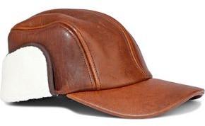 Rag & Bone Faux Shearling-paneled Cracked-leather Cap