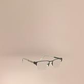 Burberry Check Detail Rectangular Optical Frames