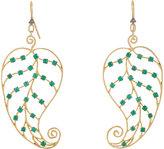 Cathy Waterman Women's Emerald & Gold Leaf Earrings