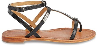 Les Tropéziennes Hilan Leather Flat Sandals with Ankle Cuff