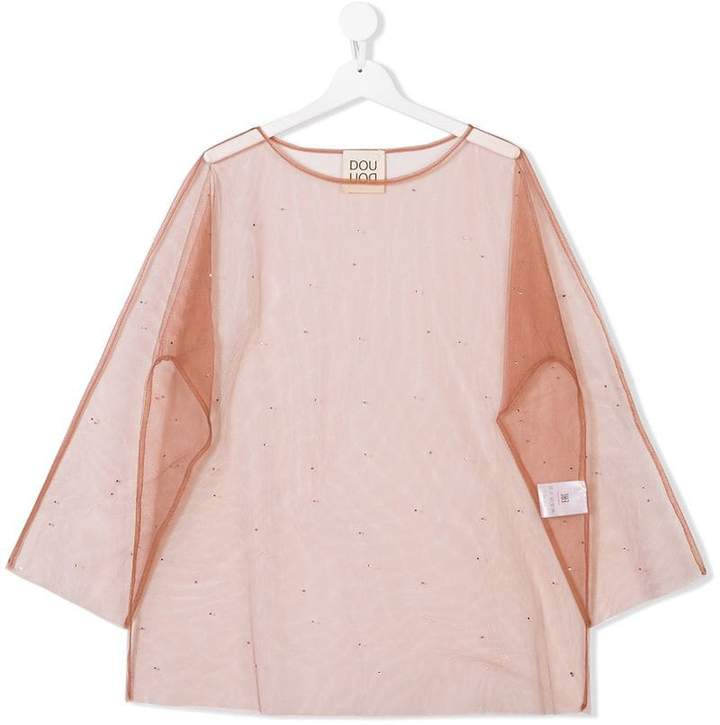 Douuod Kids Teen sheer embellished top