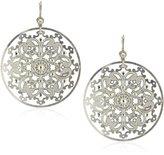 "Liz Palacios Plumas"" Crystal Large Silver-Tone Filigree Earrings"