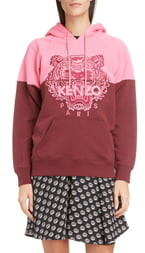 Kenzo Colorblock Tiger Logo Cotton Hoodie