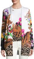 Etro Floral & Animal-Print Stampa Open Cardigan, Black/Multi