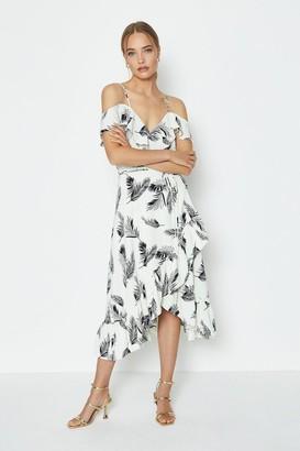 Coast Printed Cold Shoulder Wrap Dress