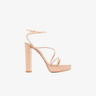 Gianvito Rossi nude Seline 100 crystal strap leather sandals